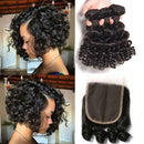 Bouncy Curly 3 4 Bundles With Closure Funmi Brazilian Hair Weave