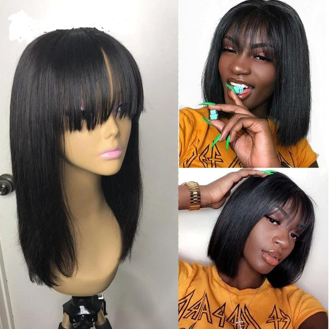 Transparent 13x6 Lace Front Bob Human Hair Wigs with Bangs