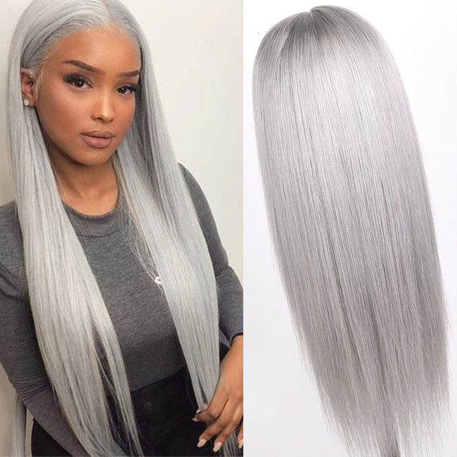 Brazilian Remy Hair Grey Color Lace Wig Straight 13x6 Lace