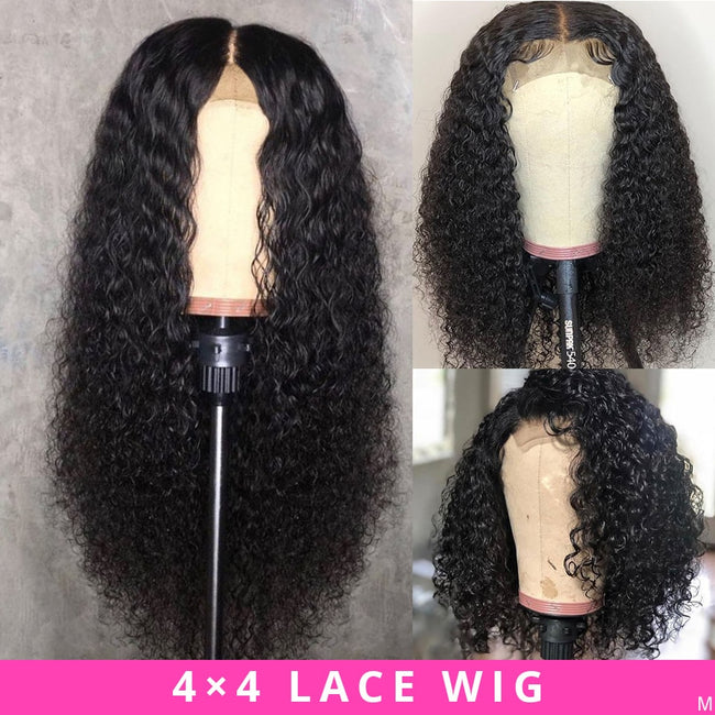 Brazilian 4x4 Lace Closure Kinky Curly Human Hair Wig Preplucked