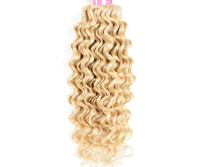 Brazilian Deep Wave Bundle 613 Color Remy Human Hair Weave Platinum Blonde
