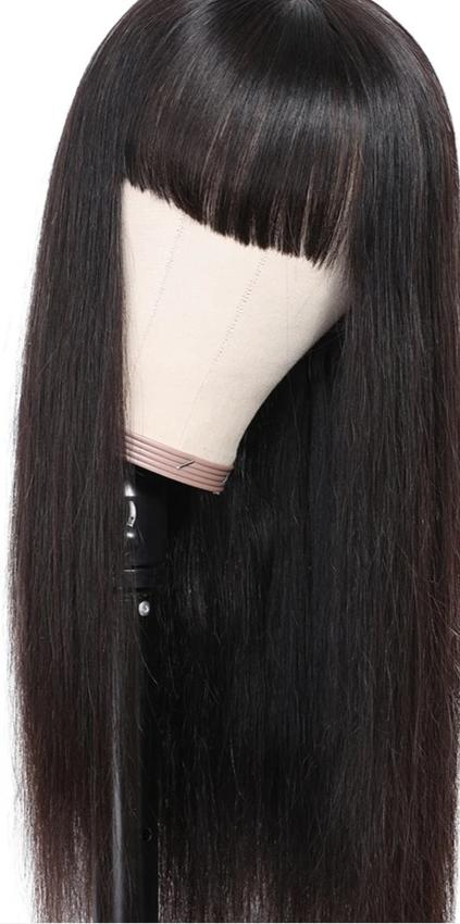 Human Hair Transparent Lace Front Bang Wig Pre Plucked