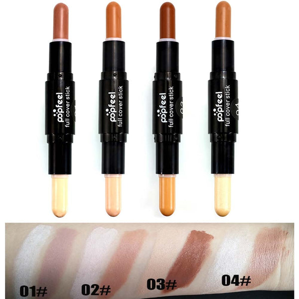4 color foundation stick Double-ended 2 in1 Contour Stick 3D Face Bronzer highlighter