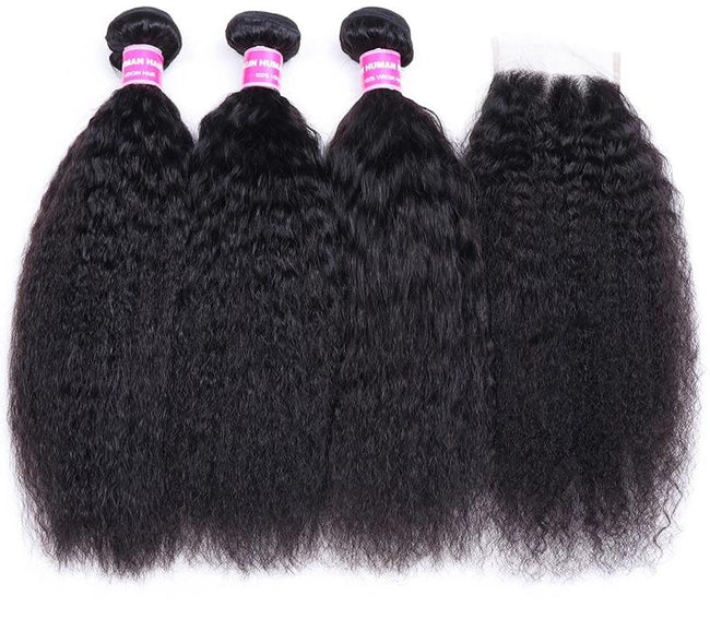 Brazilian Kinky Straight Human Hair 3 Bundles W/ Closure 4x4 Natural Color
