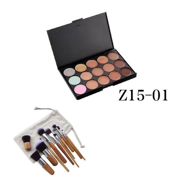 15 Colors Concealer Palette Kit With 11pcs Bamboo Brush Set