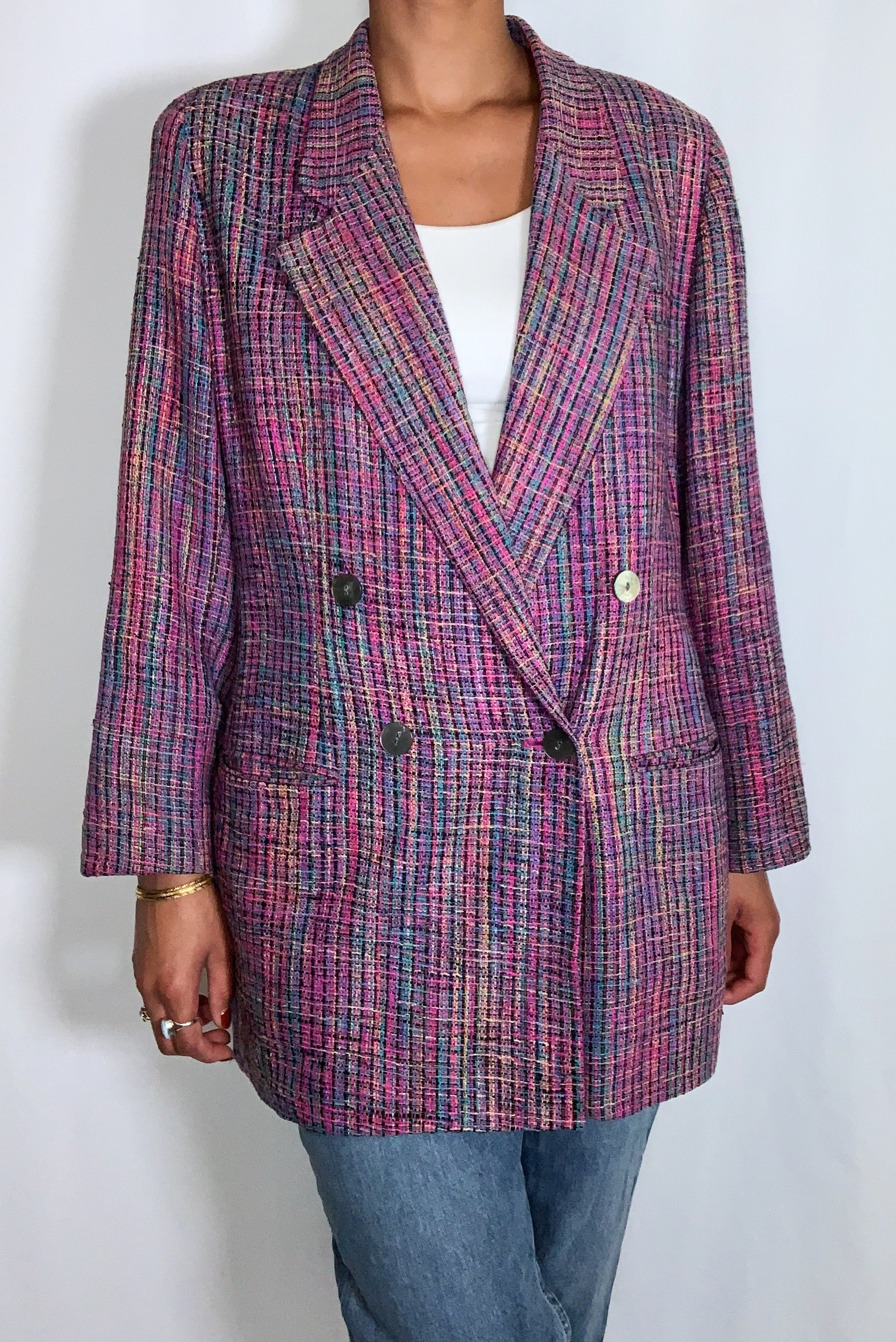 Four Hundred Tailored Collection Vintage Silk Blazer (size 16)