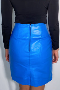 Vintage Bagatelle Blue Genuine Leather Pencil Skirt (size 8, fits like a 6)