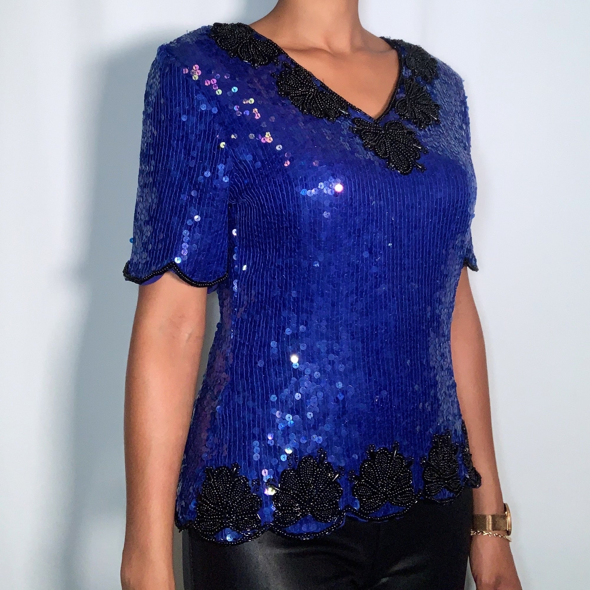Vintage Sténay Sequin Silk Top (size large)