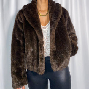 Vintage Newport News Chocolate Faux Fur Coat (size medium)