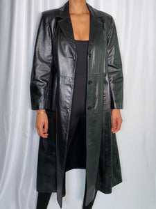 Vintage Opera Leather Trench Coat (size 15/16)