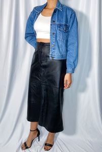 Vintage David Benjamin Genuine Leather Maxi Skirt (size 14)