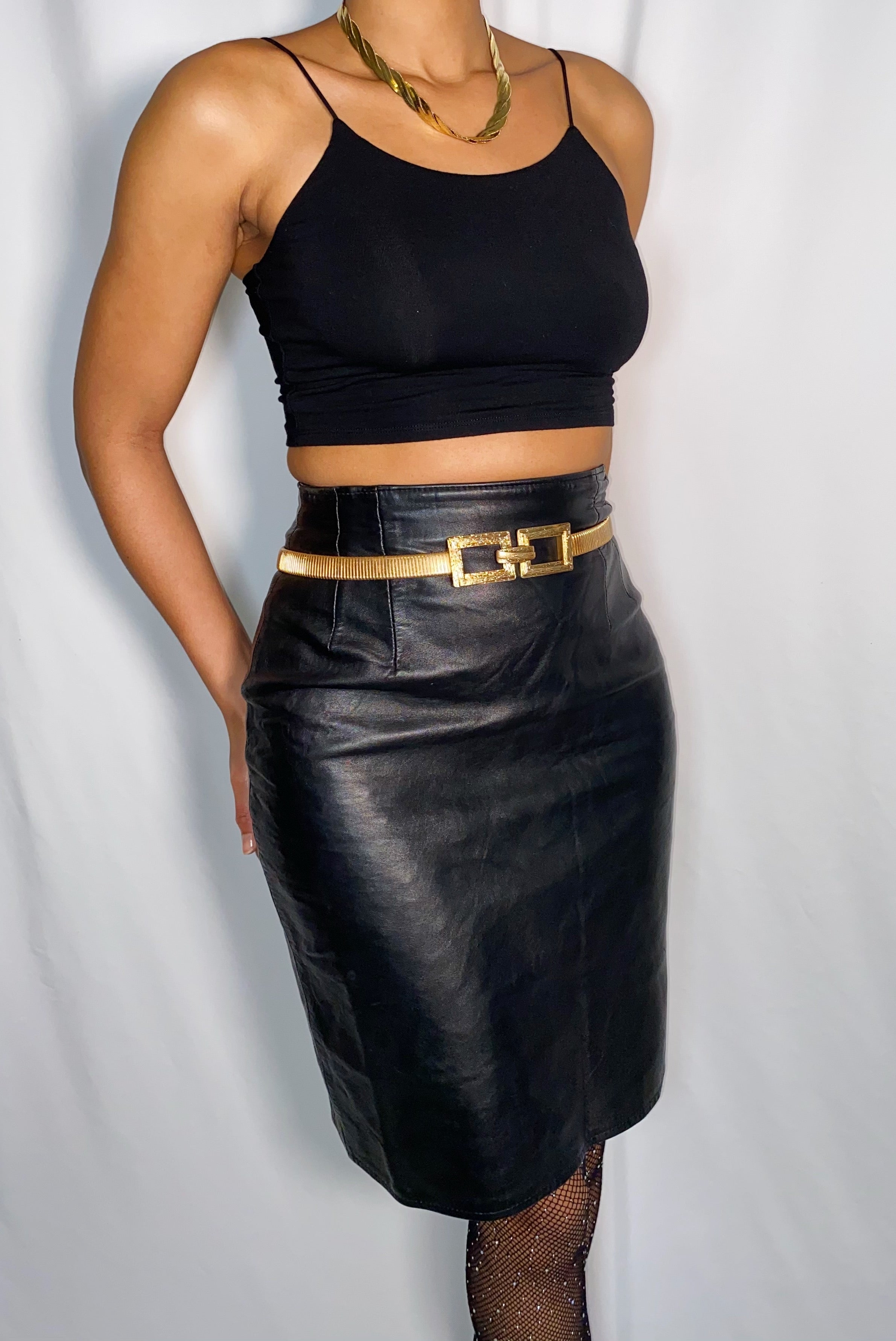 Vintage Lotus Black Genuine Leather High Waist Pencil Skirt (size 6)