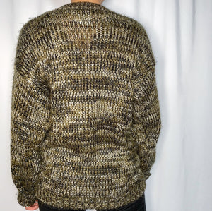 Vintage Men's Oversized Sweater w/ Leather Patches (size medium)