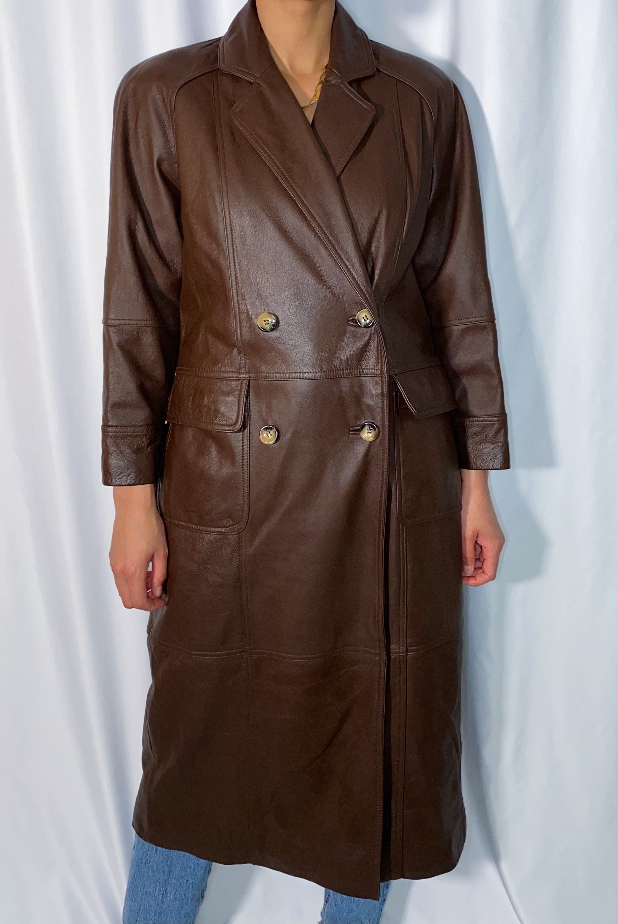 Vintage Together! Chocolate Leather Trench Coat (size 6P)