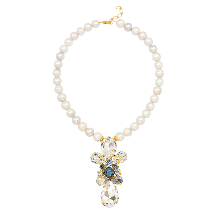 BAROQUE ROSE - freshwater pearls, Swarovski crystals, 24K Gold plated necklace