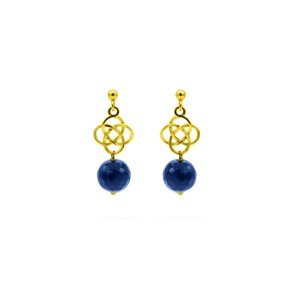 Blue Agate gemstone, 24k gold plated earrings
