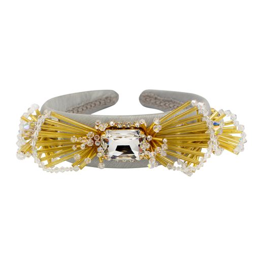 Swarovski crystals gold tone silk headband