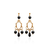 Lava gemstone, Swarovski crystals, 24k gold plated earrings