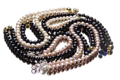Black Tahitian pearls necklace set