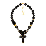 Black  Swraovski crystals pearl gold plated statement luxury fine handmade ootd necklace