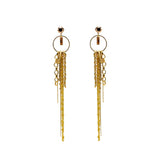 Long Gold tone chain Swarovski crystals earrings