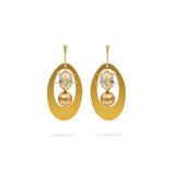 Gold tone Swarovski pearl crystal gold plated statement circle earrings ootd