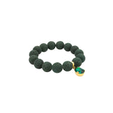 Green Volcanic Lava gemstone, Swarovski crystal, Gold plated bracelet