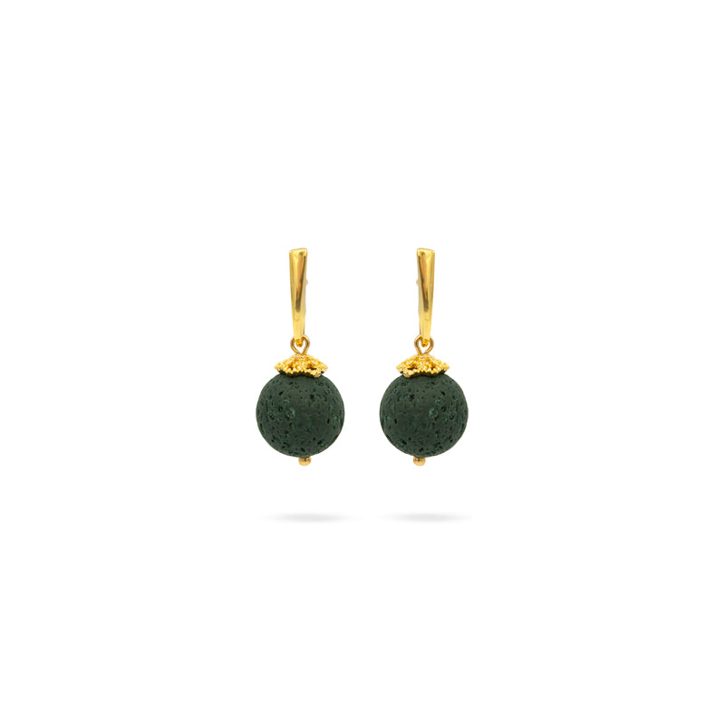 Green Volcanic Lava gemstone, Gold plated earrings