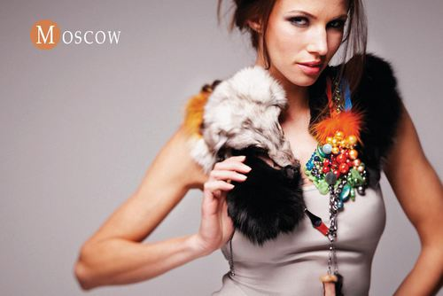 MOSCOW - Swarovski pearls and crystals, Silk, natural gemstone, Fox necklace
