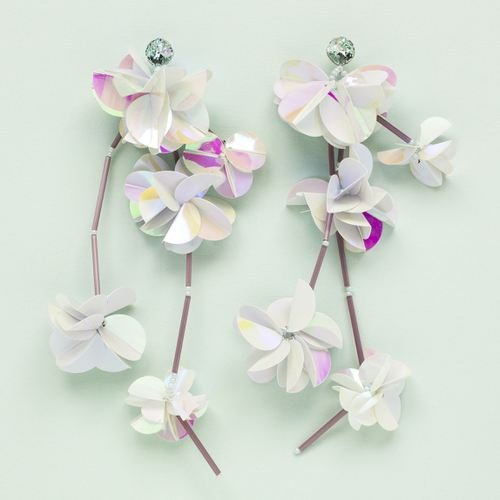 Magnolia Flowers, Swarovski crystals, Silver plated earrings