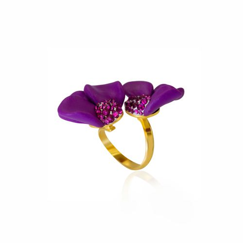Fuchsia gold plated ring