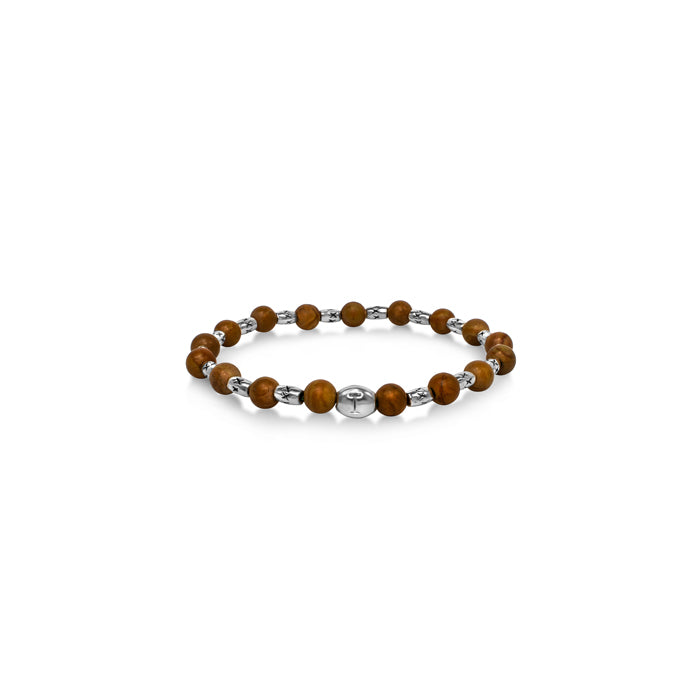 brown natural gemstone silver tone bracelet