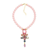 Pink Swarovski matte pearls Swarovski crystals Gold plated statement fine luxury ootd necklace