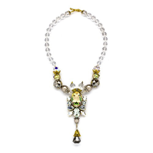 Rock crystals gemstone, Swarovski crystals and pearls Gold tone necklace
