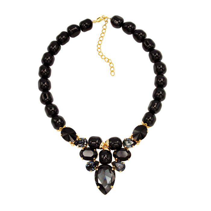 Black Swarovski crystals pearls gold plated necklace