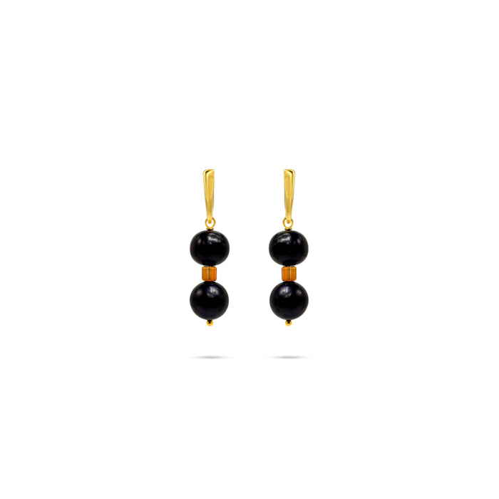 black natural pearl Swarovski crystals gold plated earrings
