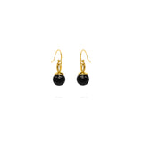 Black pearls gold plated earrings