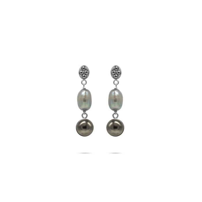 silver tone natural pearls silver earrings