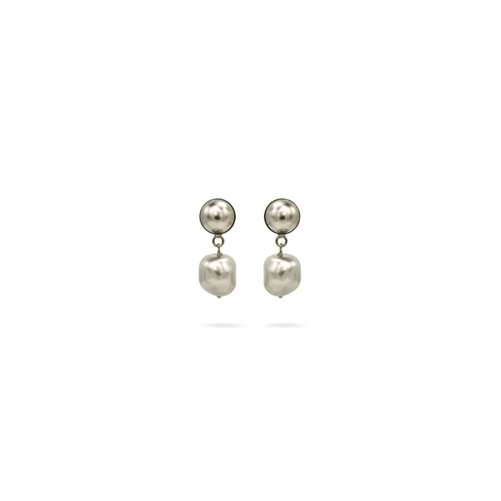 Silver tone Swarovski pearl silver earrings