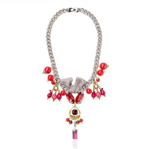 red coral color swarovski crystal and pearl silver tone necklace