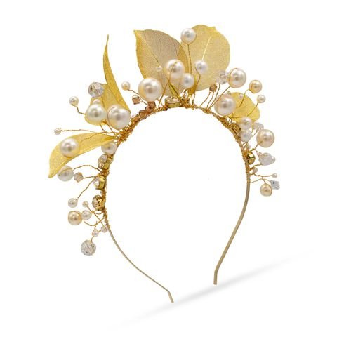 white pearl and crystal gold tone headband