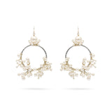White pearl big wedding earrings