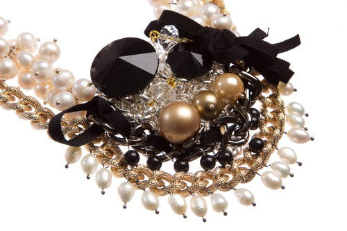 White baroque pearl gold plated Swarovski crystal luxury fine statement necklace by SILDAREjewelry