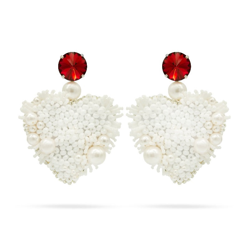 white pearls red crystal heart earrings