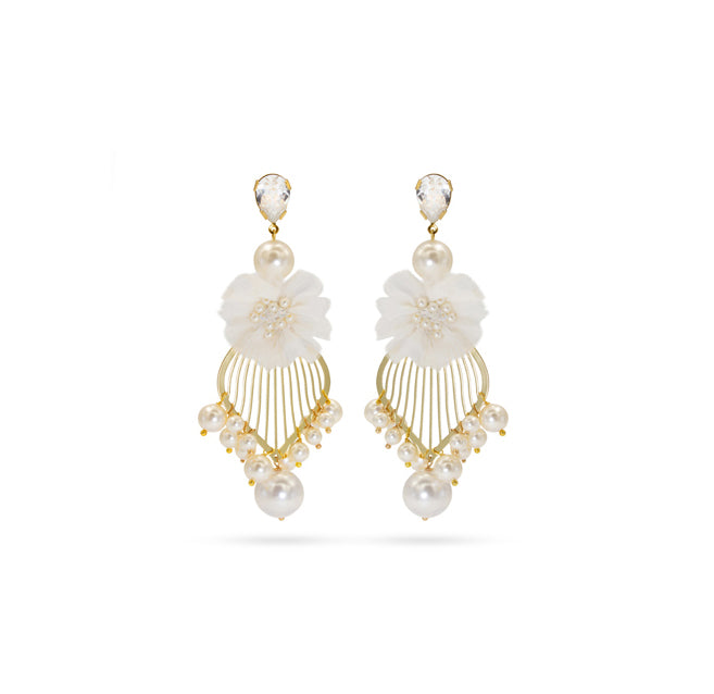 White pearls Swarovski crystals Silk gold plated Wedding Earrings
