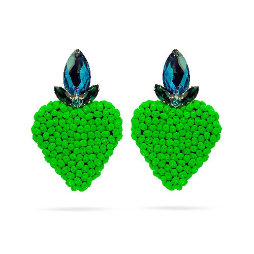 Green heart Swarovski crystal statement earrings