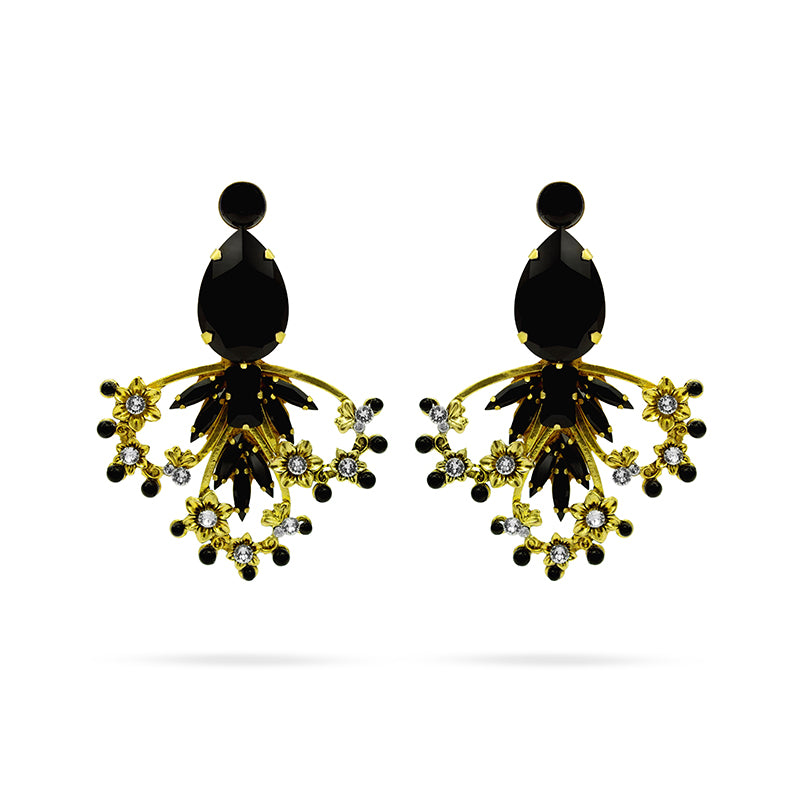 Black Swarovski crystals gold tone big statement fashion flower earrings