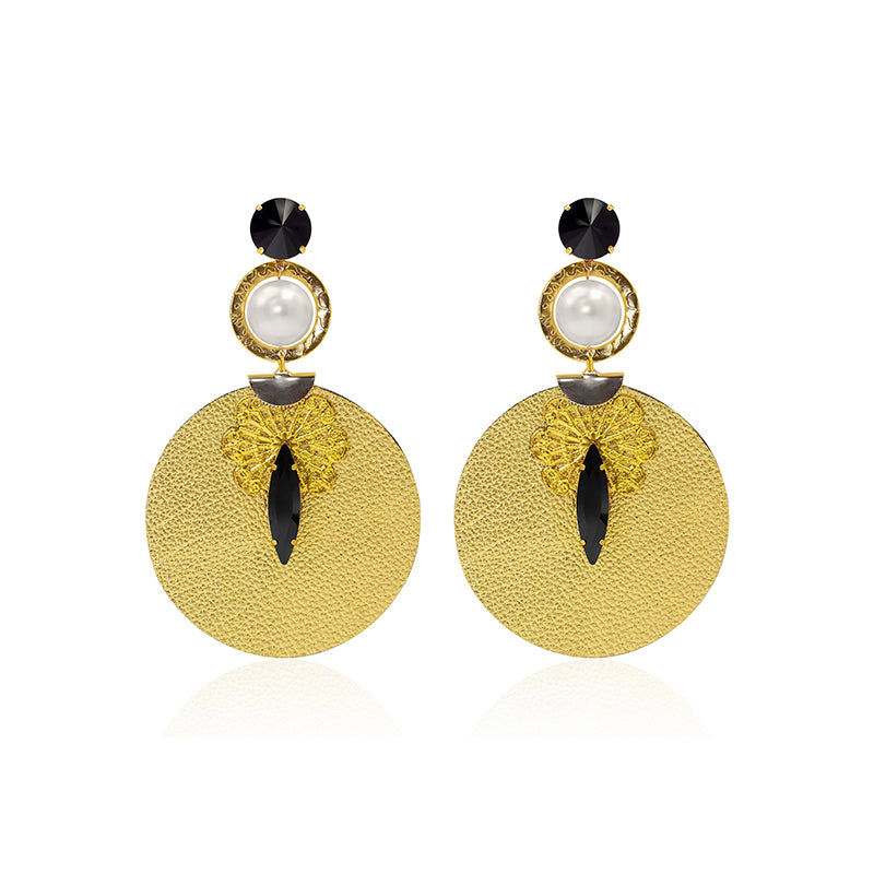 Gold colour circle big long pearl cristal leather fashion luxury fine earrings