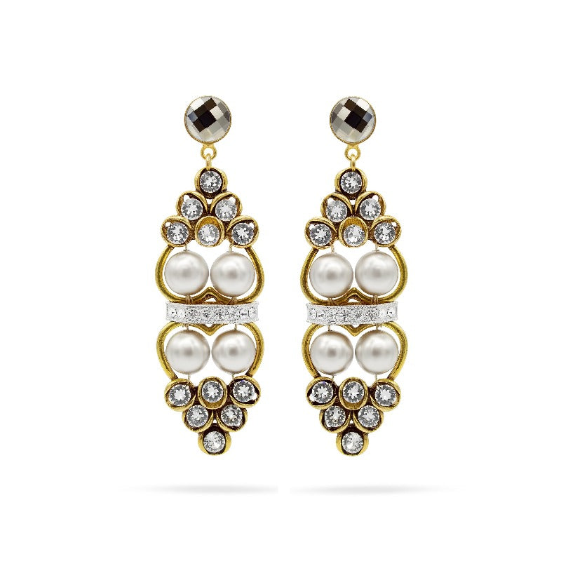 swraovski crystals pearls gold tone earrings