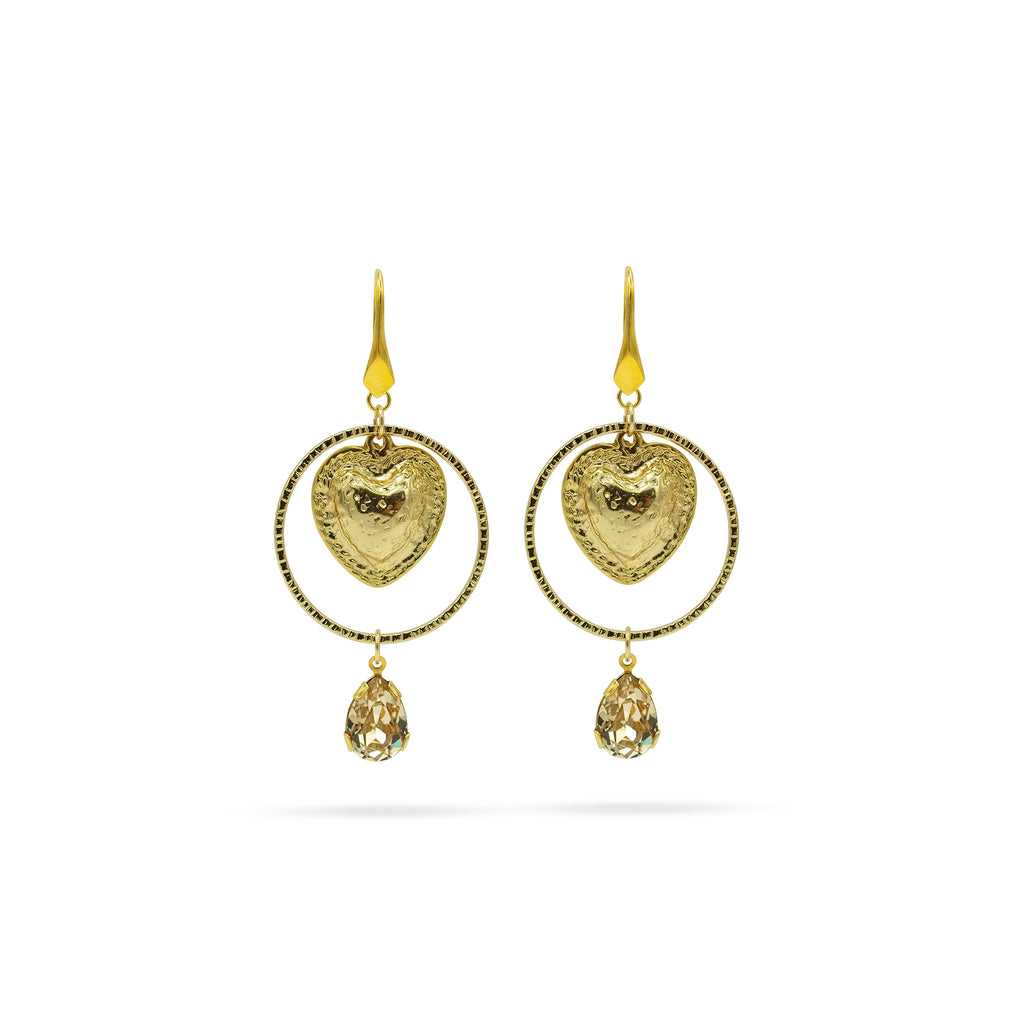 Swarovski crystal, heart, gold plated earrings